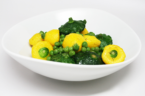 Baby Summer Squash and Peas Saute